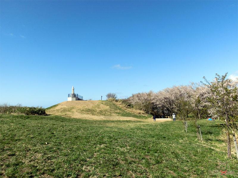 小高い盛り土の上に観音像がある。