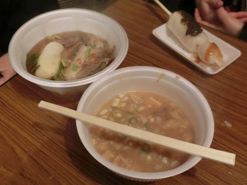 秋田のご当地グルメの味噌きりたんぽ、きりたんぽ鍋、納豆汁
