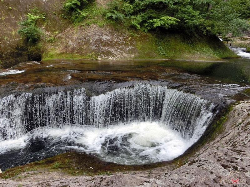 激しく水が流れる小さな滝。滝壺は深そう。