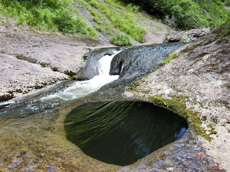 左には滝つぼ、右にはおう穴がある川の様子