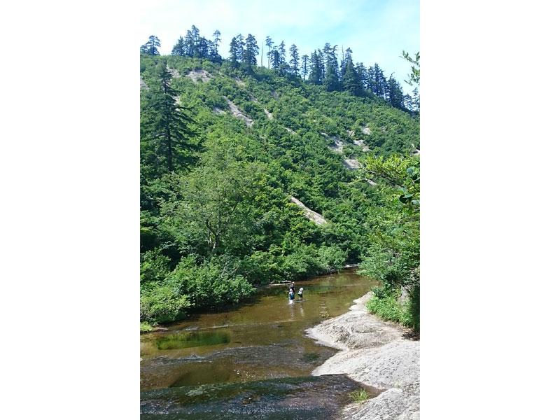 青空に、渓谷という絶景の中、小さい子供連れの家族が楽しそうに川歩きをしているのが見える