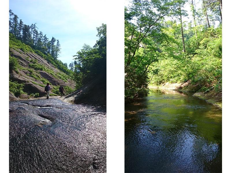 左は青空がまぶしい岩山の狭間の写真、右は木が茂る涼しい場所の写真