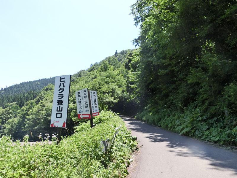 桃洞の滝へ行く登山道へ入る道路