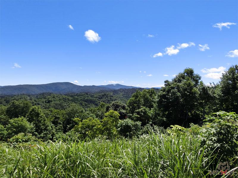 写真中央に見える山のくぼんで白っぽくなっているのが玉川温泉、北投石で有名な焼山