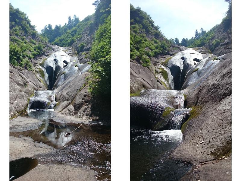 なめらかえ優しい印象の桃洞の滝(女滝)の姿。岩の上をすべるように水が流れていてつるんとして見える。