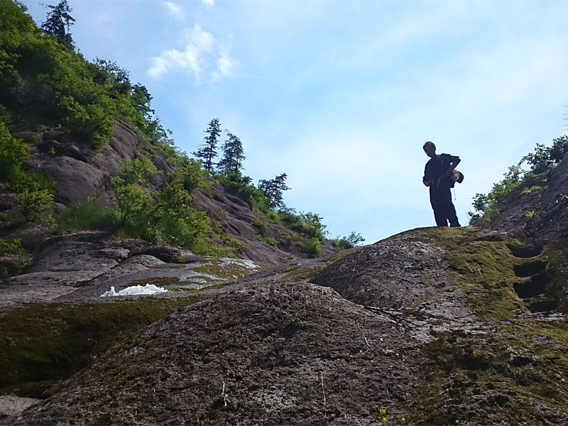 桃洞の滝の横に上の方を見上げて撮った写真